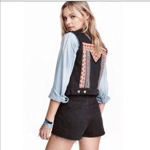 Coachella embroidered black denim vest
